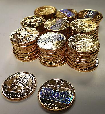 2 COINS = 2007 S UTAH GOLDEN SPIKE SILVER PROOF QUARTERS  TRAINS RAIL ROAD  dh88