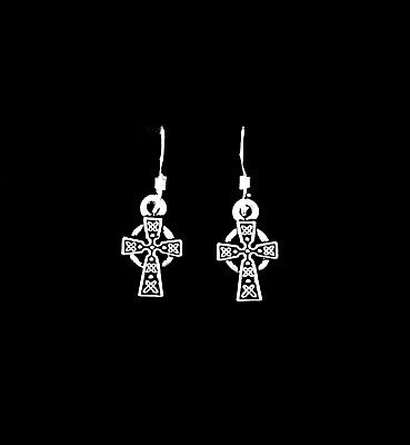 Celtic Cross Dangle Charm Earrings, Sterling Silver French Hook Ear Wire Jewelry
