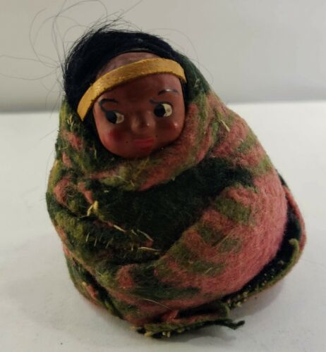 Vintage Skookum Sitting Child Doll & Papoose Baby on Board