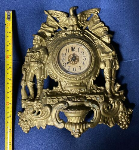Vintage Warner Clock Army Navy American Eagle Spanish American War shelf Clock