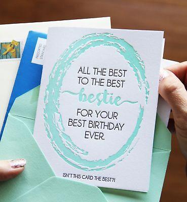Funny Best Bestie Birthday Letterpress Card | All the Best | kiss and (All The Best Birthday)