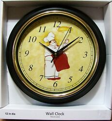 Fat Chef Throwing Pizza Dough 12 Round Wall Kitchen Clock   NEW IN BOX