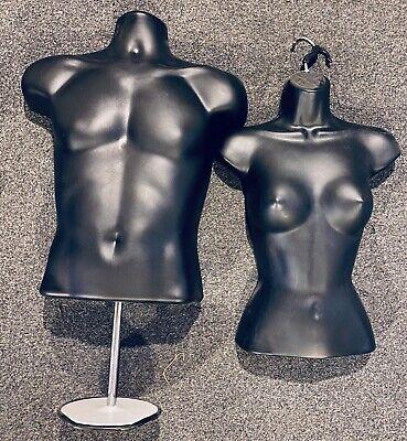 Adult Male Female Mannequin Torsos Set Black 1 Stand 1 Hanging Hook