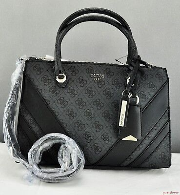 Free Ship USA Chic Handbag GUESS Satchel Tote Slater Ladies Coal Prime Bag