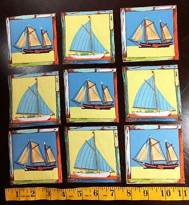 SAILBOATS Makower UK Fabric Squares Coastal Labels 12 Iron On Appliques Sailing
