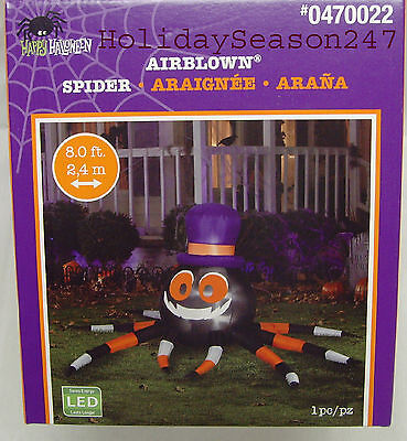 Gemmy Halloween Giant 8Ft Wide LED Lighted Spider Airblown Inflatable Yard - Giant Inflatable Spider Halloween
