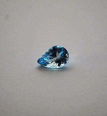 Blautopas natürlicher Edelstein Fantasieschliff Blattform ca. 15x10mm