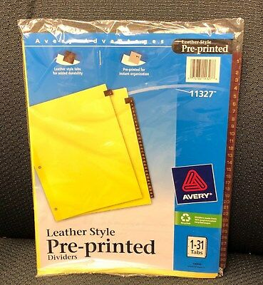 New Avery Advantages Leather Style Pre-Printed Dividers 1 - 31 numbered tabs ()