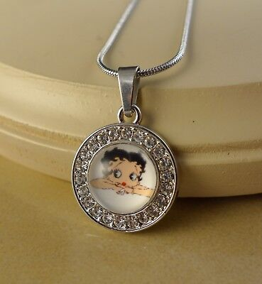 Betty Boop Pendant (BETTY BOOP small crystal pendant w/necklace jewelry gifts for girls)
