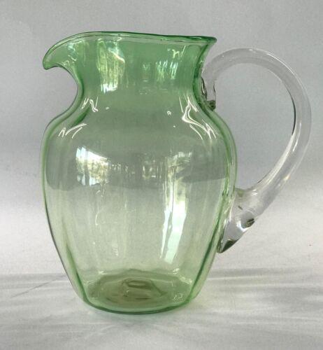 "Antique Victorian Green Glass Jug Hand Blown 13 cm / 5 "" H"