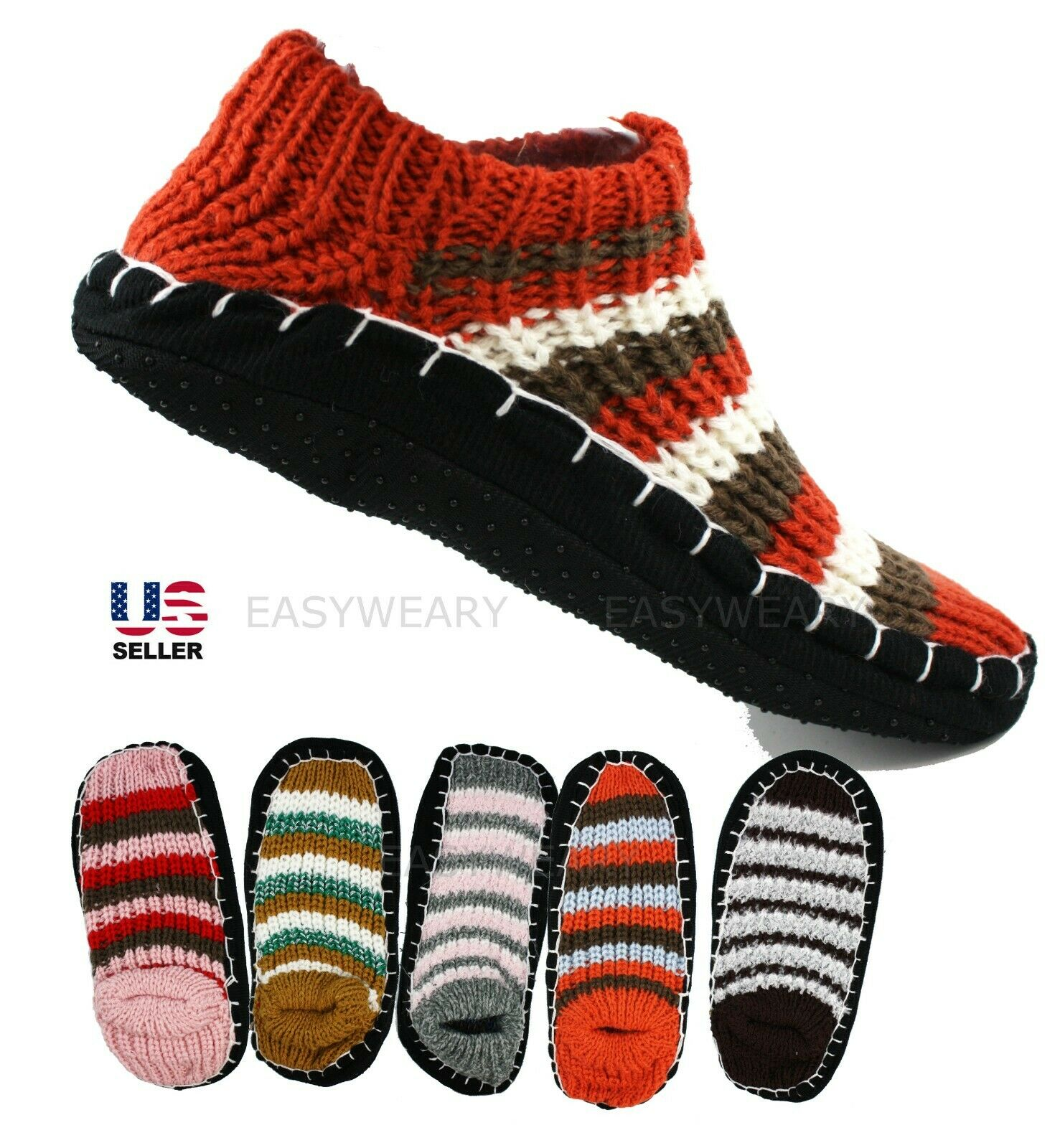 Lot 2 Pairs Women Woven Knit Slip-On Slippers Socks Shoes No