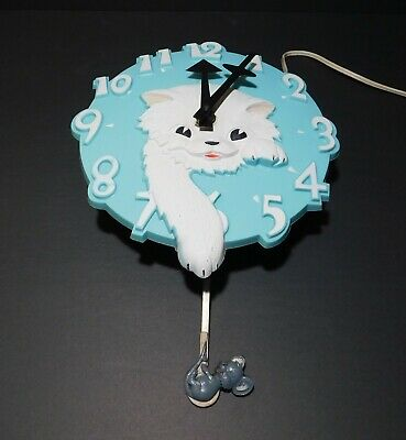 Rarest of the Rare Vintage MCM Spartus Turquoise Blue Cat and Mouse Wall Clock