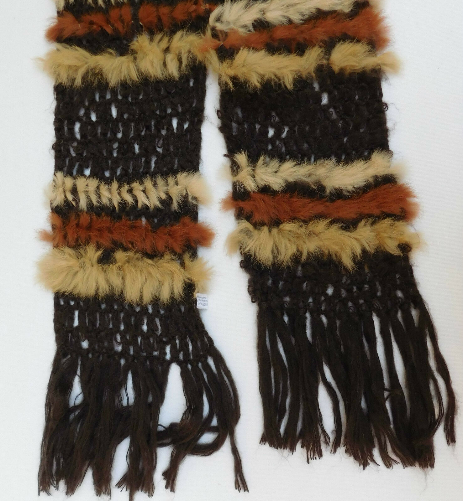 Soft fringed ladies scarf with rabbit fur trim 90 inch long brown striped