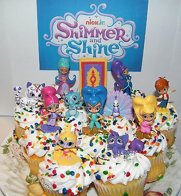 Nick Jr  Shimmer And Shine Cake Toppers Set Of 17 Fun Figures And Genie Gems