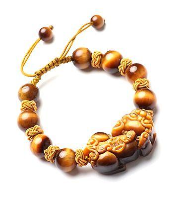 Feng Shui yellow Tiger's beads Eye Pi Yao /Pi Xiu bracelet  for wealth luck