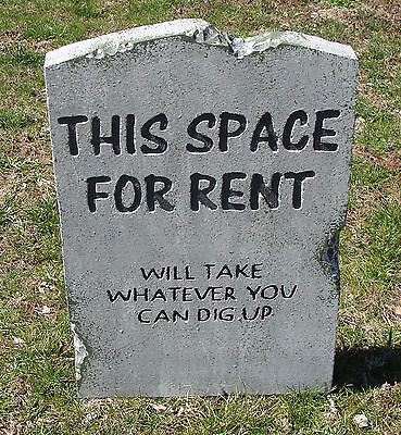 Halloween 'This Space for Rent' tombstone prop graveyard decoration 24