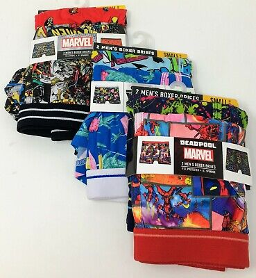 "Marvel X-Men Star Wars Deadpool Mens Boxer Briefs 6 Pair Small 28-30"" Underwear"