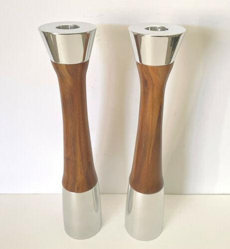 "Steve Cozzolino for Nambé LLC 2 Heavy Aluminum & Wood Candle Holders MT0216 11"""