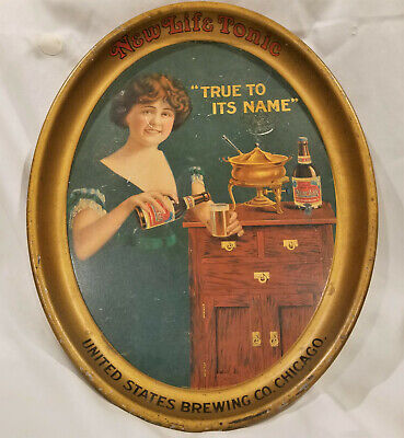 Large Pre-1930 NEW LIFE TONIC BEER TRAY  United States Brewing Co. Malt Tonic