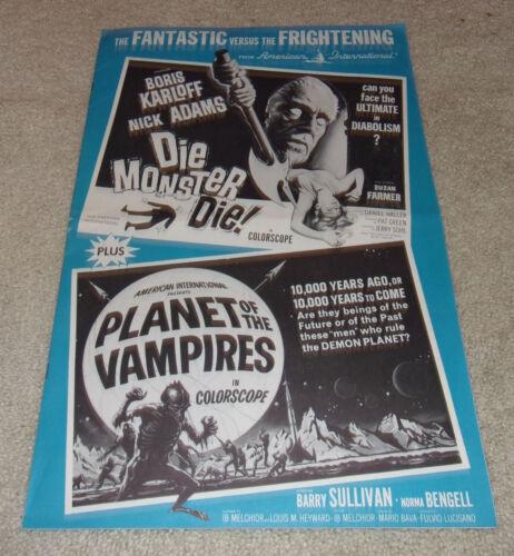 PLANET OF THE VAMPIRES / DIE MONSTER DIE Boris Karloff! Campaign Ad Poster Book