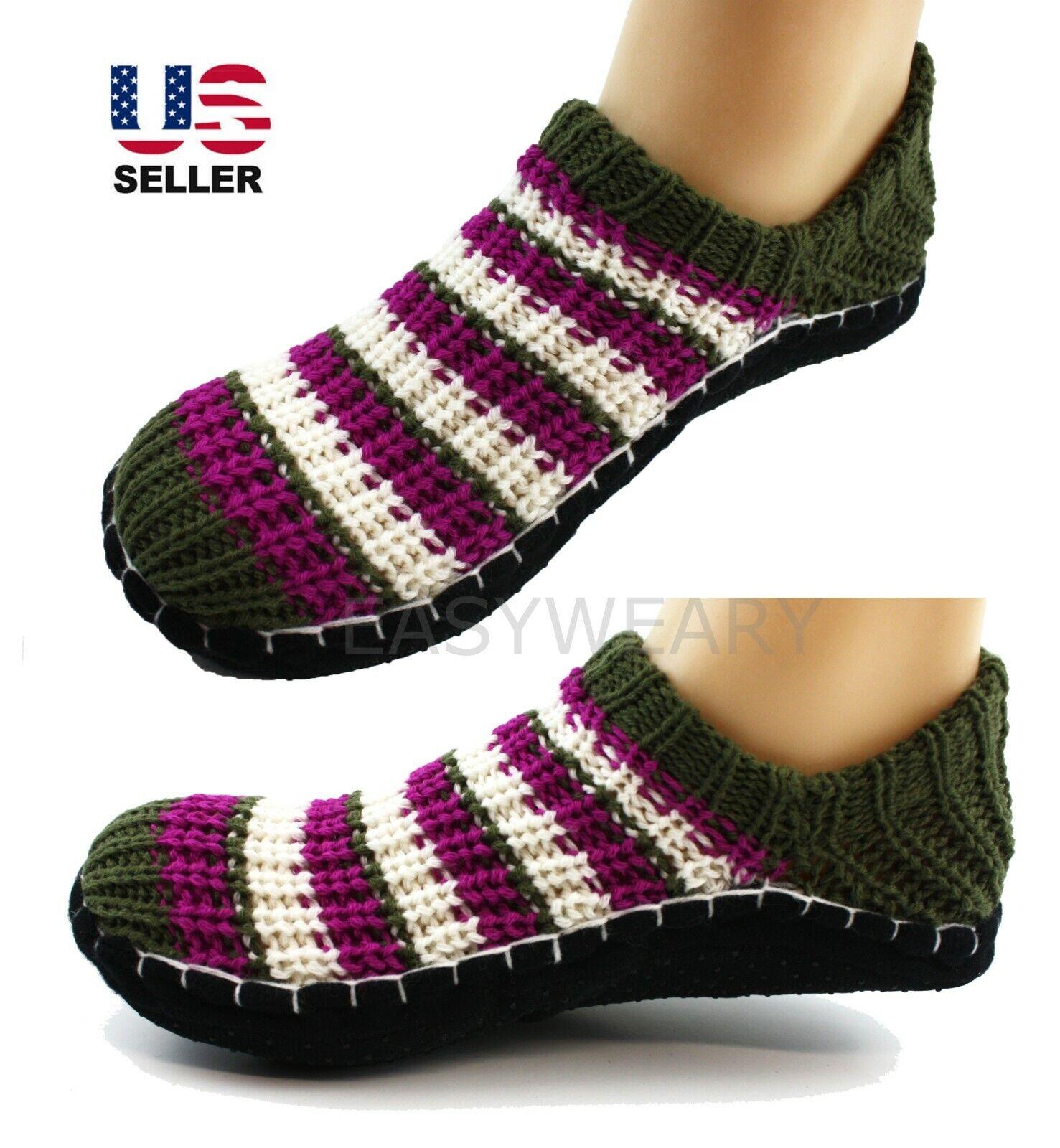 Women's Knit Ankle Slipper Socks Non-Slip Cushioned Winter H