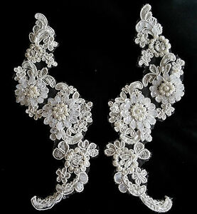 Pair Bridal White Beaded Sequined Floral Embroidery Applique Motif Lace - EB0089