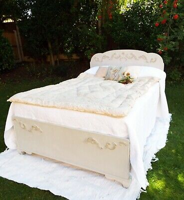 Antique refurbished grey painted double bed French country New solid pine base