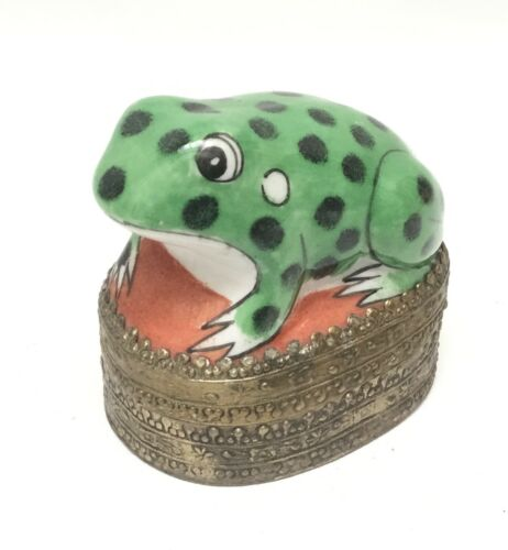 Cute Ceramic Frog on Metal Trinket Box 3""