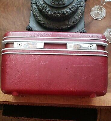 VINTAGE SAMSONITE  TRAIN COSMETIC CASE HARD maroon burgundy
