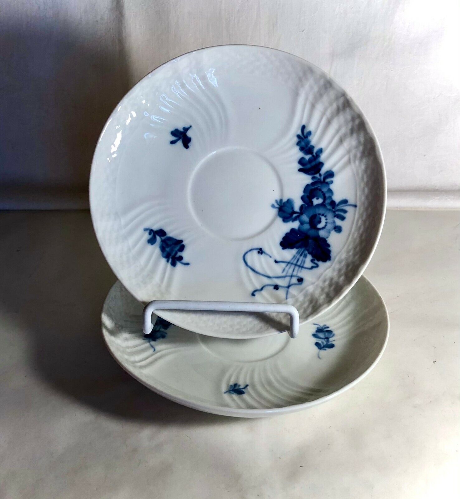 2 Royal Copenhagen Blue Flowers Scalloped Oversized Saucers Or Cream Soup Liners