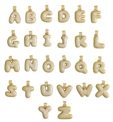 Bubble Letter A to Z Alphabet Cz Pendant 14k Gold Plated + Rope Chain  - Bubble Alphabet Letters
