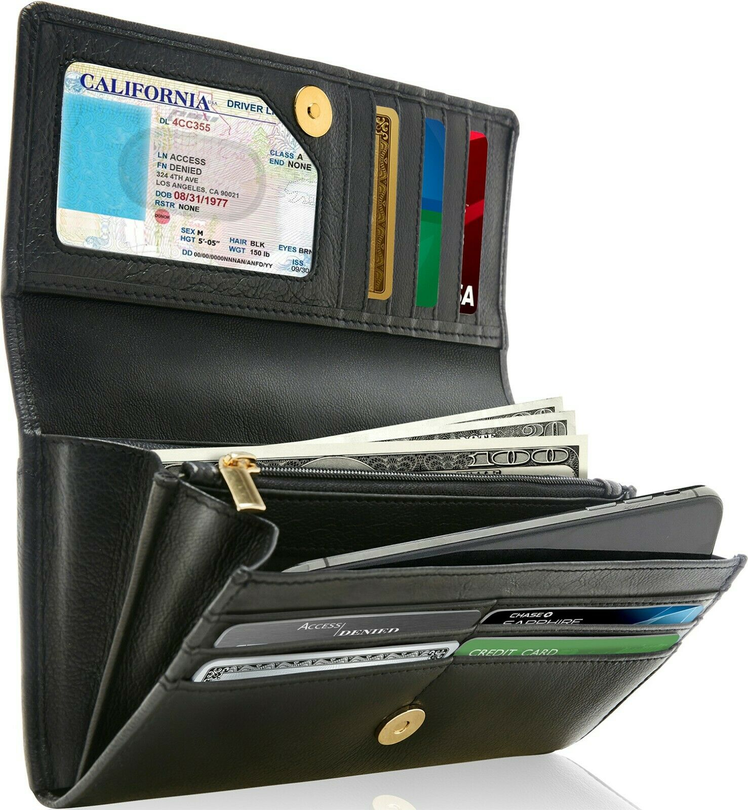 Genuine Leather Wallets For Women's Ladies Wallet Clutch Acc