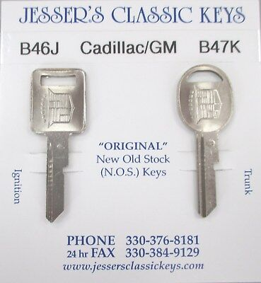 ELDORADO Original NOS B46J B47K Cadillac/GM Badge Nickel Keys Set 1978 1982