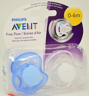 Philips Avent Orthodontic Pacifiers 0-6 months Free Flow Extra Airflow 2-pk NEW