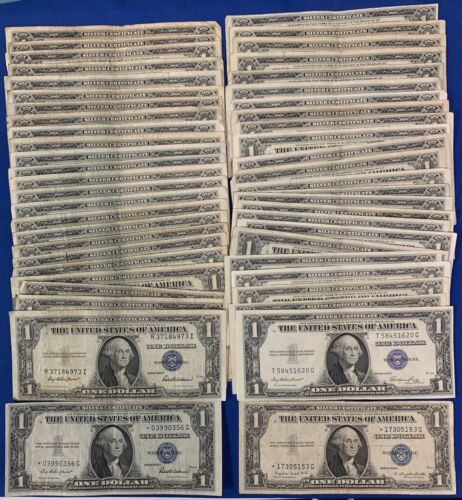 1935 $1 Silver Certificates Blue Seal Lot of 50