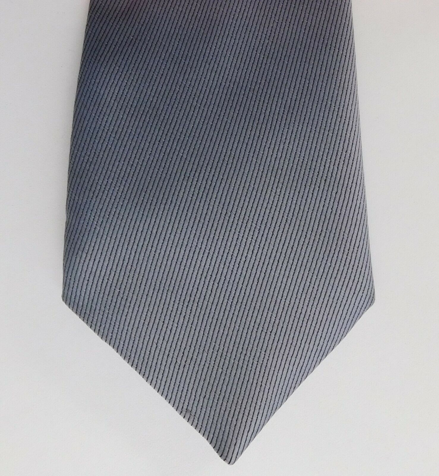 Grey striped wide tie with black pinstripe Cheep and cheerful