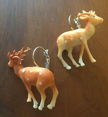 Weihnachten Ohrringe Wild Hellbraun Bambi Hirsch Plastik Kitsch - Bambi Kostüm Ohren