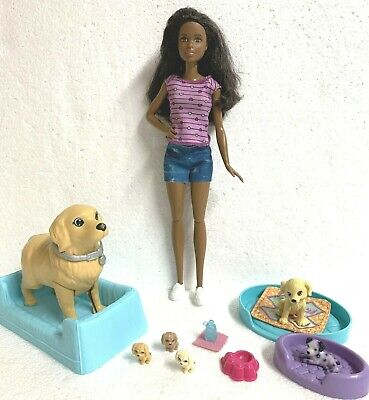 Barbie Newborn Pups Playset with African American Doll Mommy Dog Pets + extras