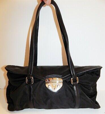 Prada Black Tessuto Nylon Lamb Leather Key Clasp Lock Key Shoulder Bag Italy