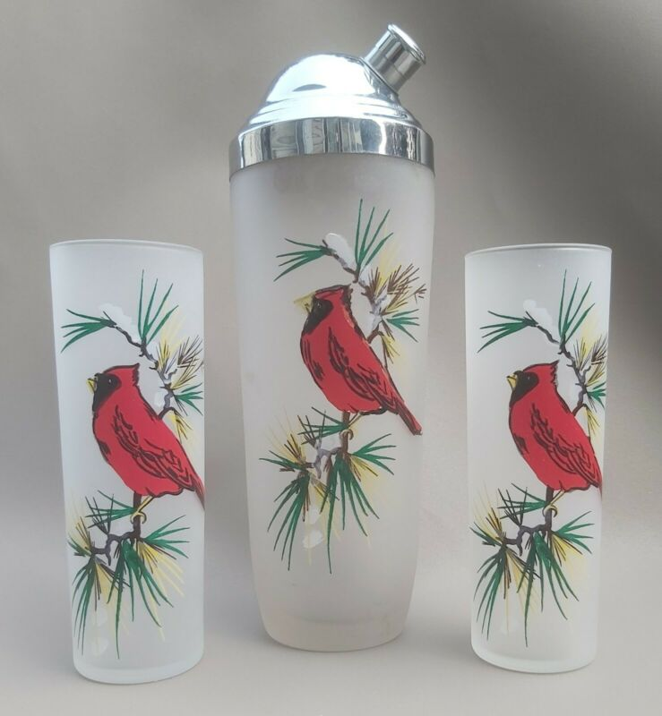 Rare Vintage Frosted Glass Red Cardinal Cocktail Shaker With Matching Tumblers