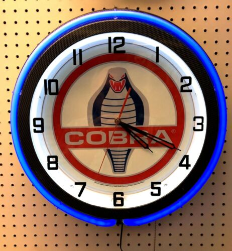 "18"" Blue COBRA Snake Double Neon Carbon Fiber Like Clock Shelby Mustang"