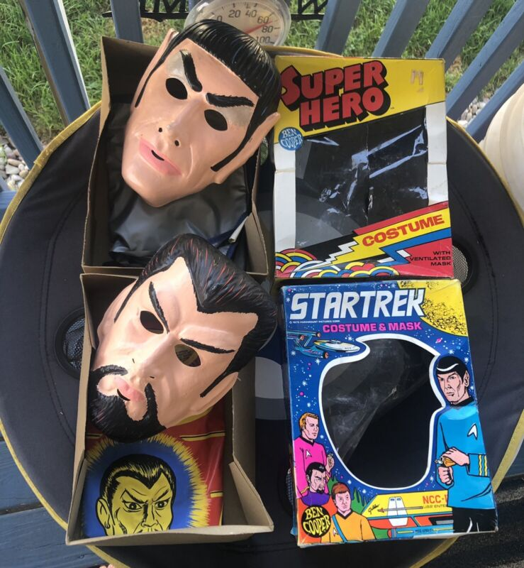 Vintage Halloween 1970's BEN COOPER Star Trek SPOCK & Klingon COSTUME & MASK