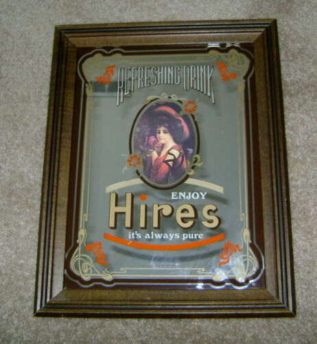 "Antique? Charles E Hires Rootbeer Refreshing Drink Glass Mirror! 18.5"" x 14.5""!"