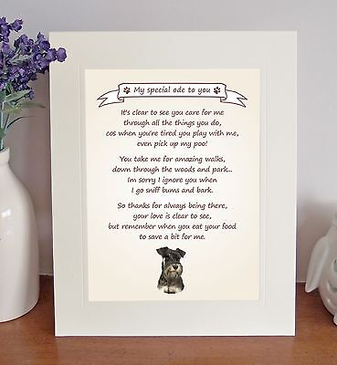 """Miniature Schnauzer 10""""x8"""" Free Standing 'Thank You' Poem Fun Gift FROM THE DOG"""