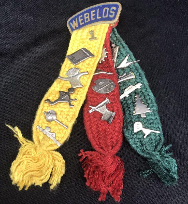 Vintage Webelos Tri-Color Woven Cloth Ribbons w/ 17 Activity Badges / Pins