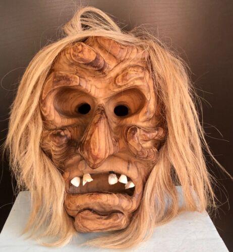 Vintage Alaska Carved Wood Face Mask Inuit Style Folk Art Realistic Teeth & Hair