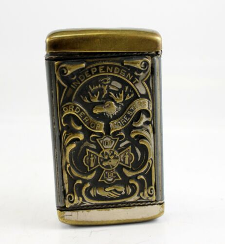 antique Match Safe Vesta Independent Order of Foresters (IOF) Patd. 1904