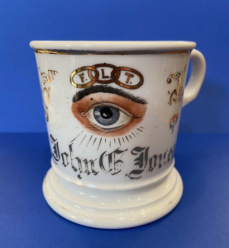 Antique ODD FELLOWS Limoges France Shaving Mug ALL SEEING EYE John Jones Rare