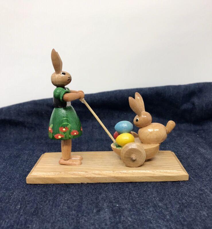 Erzgebirge Mom Bunny Rabbit Eggs Stroller Buggy Wood Handcrafted In Germany New