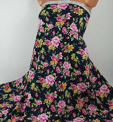 Baumwoll Jersey: Rosen Bouquets, 15,20 €/m, schwarz bunt, romantisch, Blumen